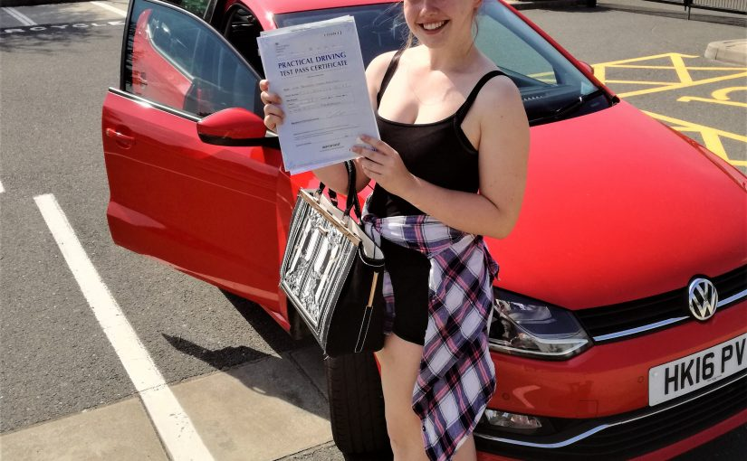Farnborough Success for Bethany Robinson who past her driving test first time with only one driving fault at Farnborough test center