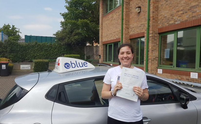 Sophie Slimm of Lightwater, who passed her driving test Very First Time in Chertsey, Surrey