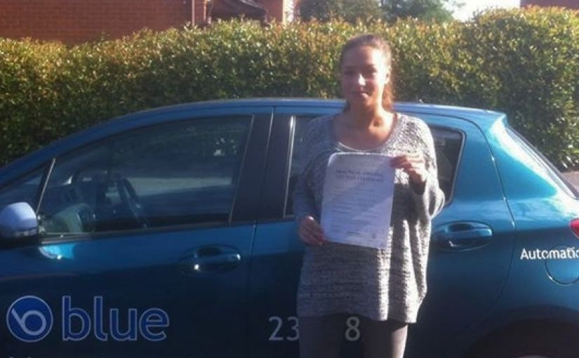 Anna on a first time pass in her driving test at Reading