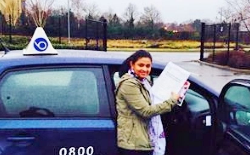 Dinesha Pasquel from Camberley passed her driving test in Farnborough