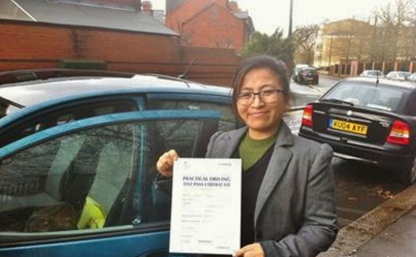 Congratulations to Jayanta Ghale, who passed her practical test in Reading