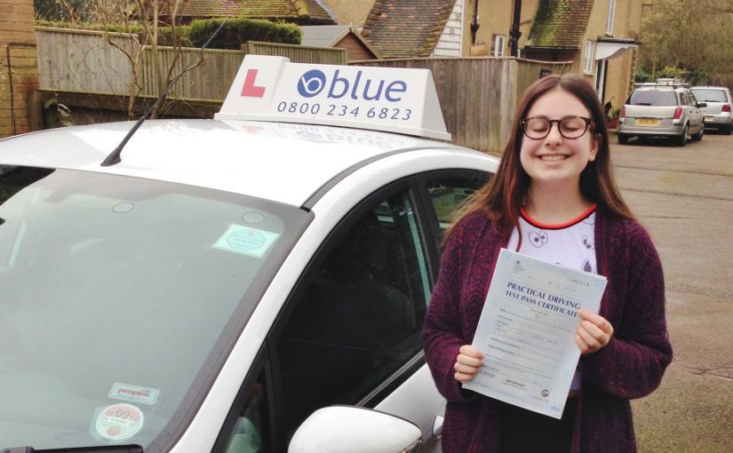 Well done to Millie of Eton, Berkshire who passed her driving test on her first attempt in Slough