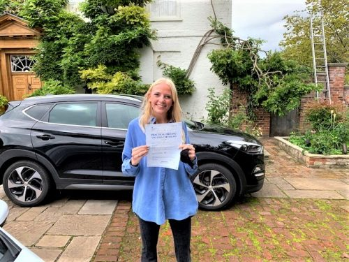 Alex King of Datchet Berkshire passed her driving test