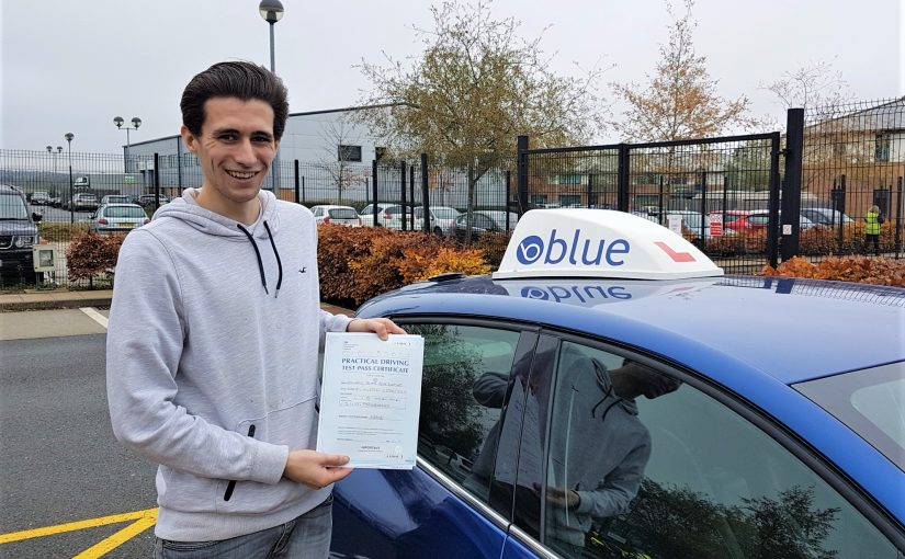 Edward Blackmoore of Ascot, Berkshire passed his driving test FIRST in Farnborough, Hampshire.