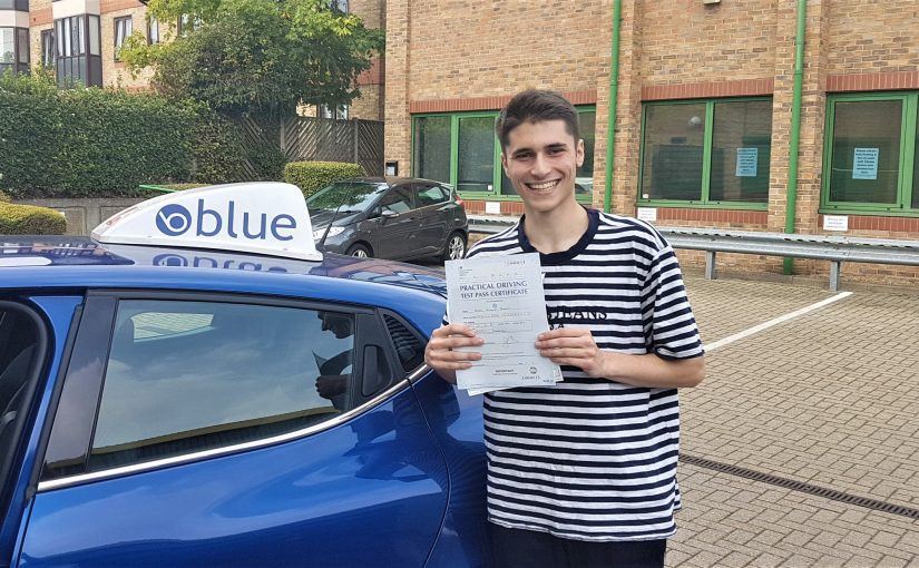 A very good result for Ollie Bonnet of Ascot, Berkshire who passed his driving test FIRST TIME
