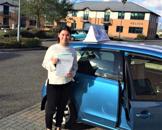 Izzy Holmes from Ascot passed driving test in Farnborough
