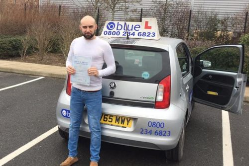 Well done to Ashley Collins from Yateley who Passed his driving test.