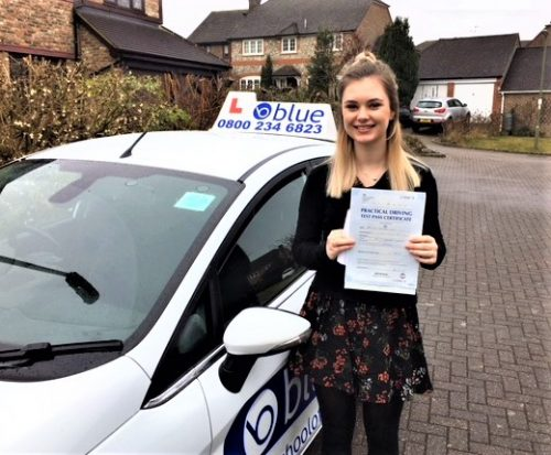 Ella White of Bagshot, Surrey who passed her test in Chertsey