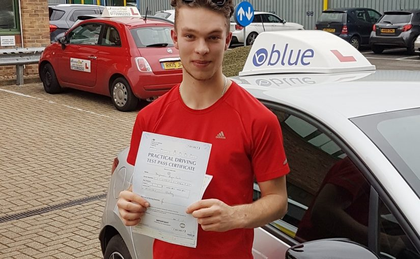 Benjamin Cook of Ascot, Berkshire who passed his driving test First Time