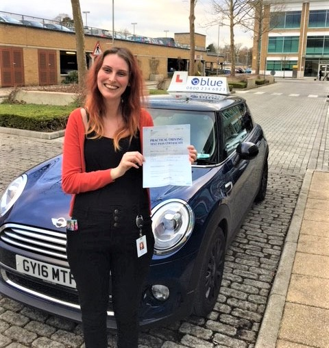 Congratulations to Katie Rolph from Blackwater, Hampshire on passing her driving test in Farnborough