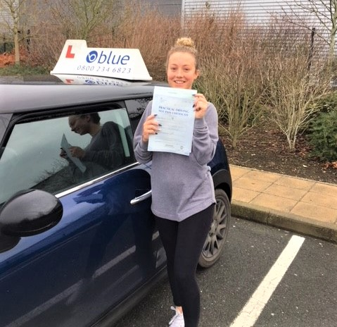 Ashleigh Ive from Bracknell passed her driving test in Farnborough