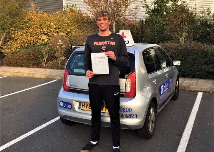Elliott Kemp from Bracknell passed his driving test in Farnborough