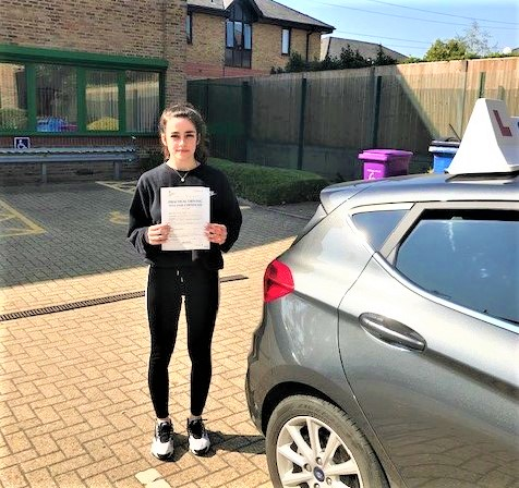 Charley Amber Cox passed driving test in Chertsey