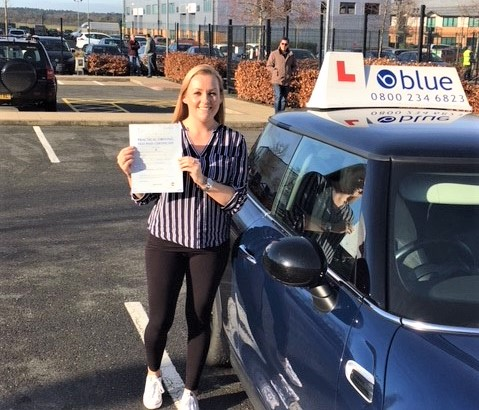 Amber Morton from Bracknell, Berkshire on passing her driving test in Farnborough