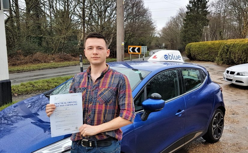 Tim Britt-Searle of Chobham in Surrey who passed his driving test