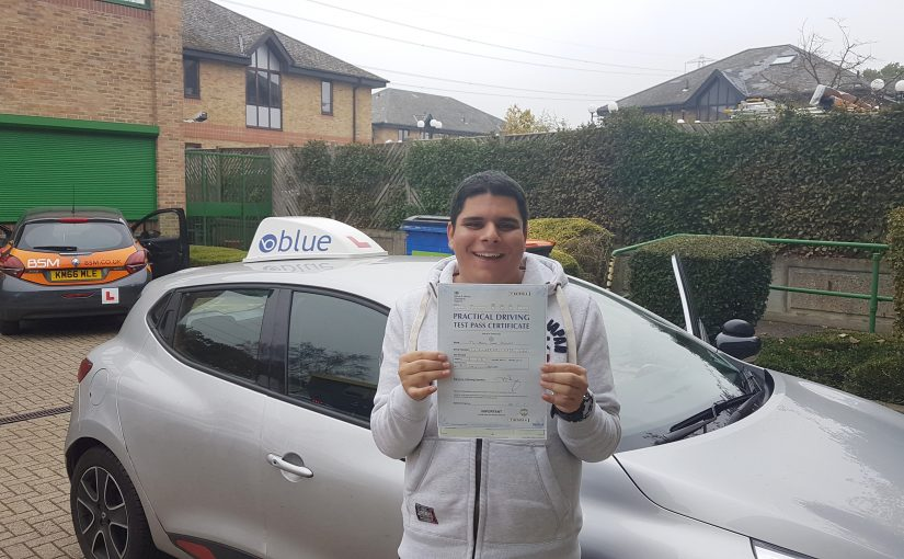 Daniel Fernandes of Winkfield Row, Berkshire who passed his driving test First Time