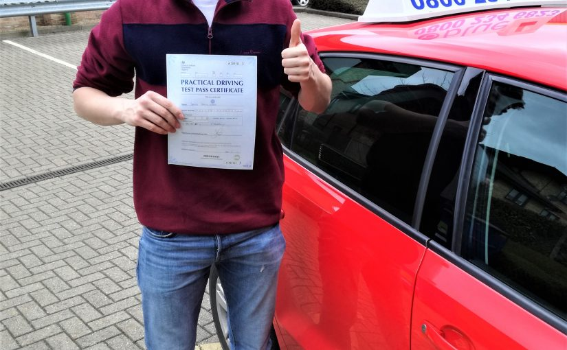 Jacob Wells of Windlesham, Surrey passed his driving test
