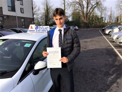 Ed Sadler of Holyport Berkshire passed his driving test