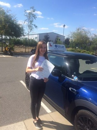 Emma Houghton from Bracknell on passing your driving test in Farnborough on your first attempt