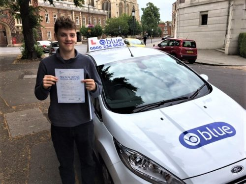 Charlie Wade from Eton College, Berkshire passed his driving test in Slough