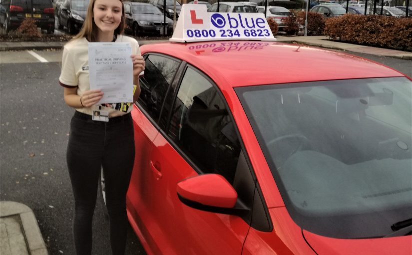 Rhea Chater of Eversley who passed the new driving test today at Farnborough