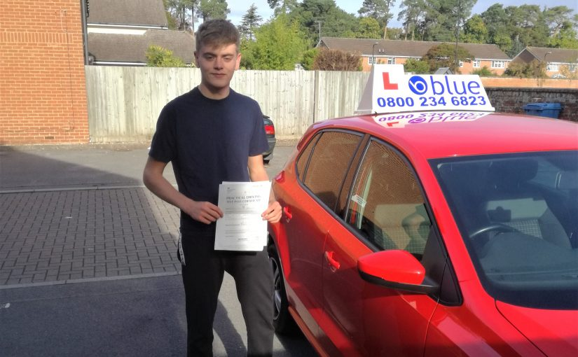 Arron Edwards who passed his driving test first time in Farnborough