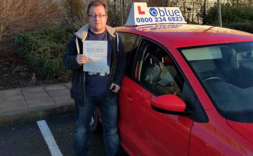 Jonathan Hall passed his driving test FIRST TIME at Farnborough