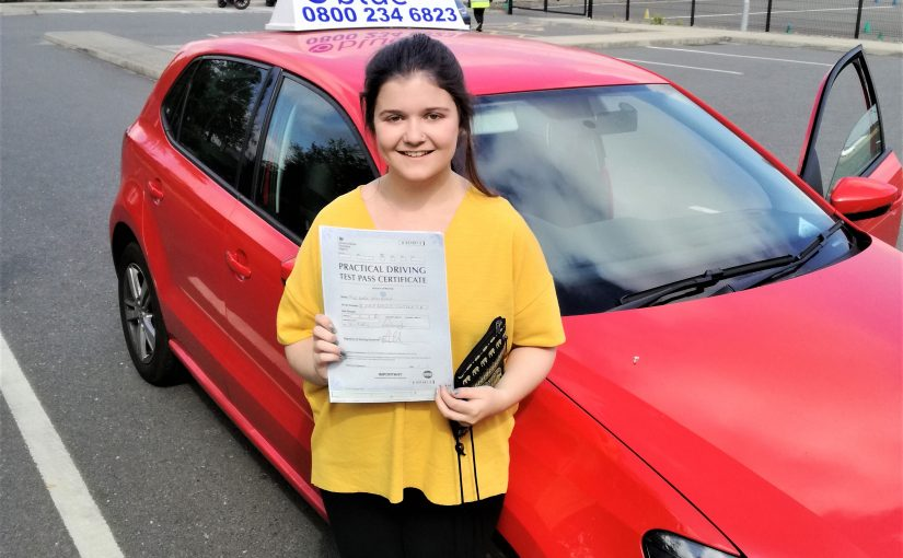 Katie Beard of Lightwater, Surrey passed her driving test