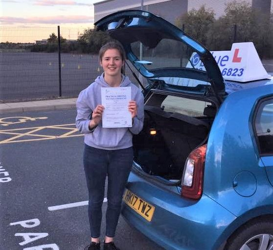 Sammi Shaw passed her driving test in Farnborough first time