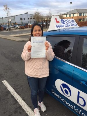 Farnborough Driving Test pass for Lessy Wowk