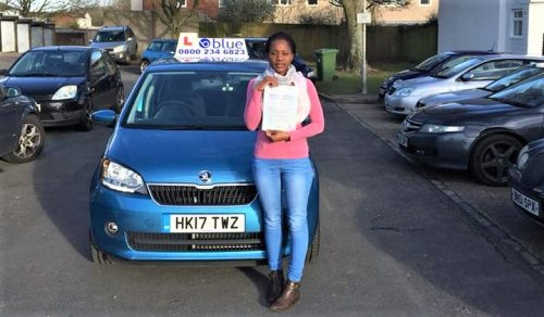 Farnborough driving test pass for Keturah Kawanguzi