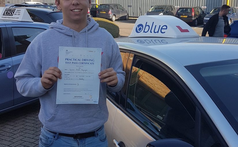 Ignacio Prieto of Bracknell, Berkshire who passed his driving test First Time with only 2 minor faults