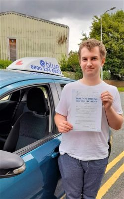 Lawrence Thexton passed his driving test in Reading first TIME