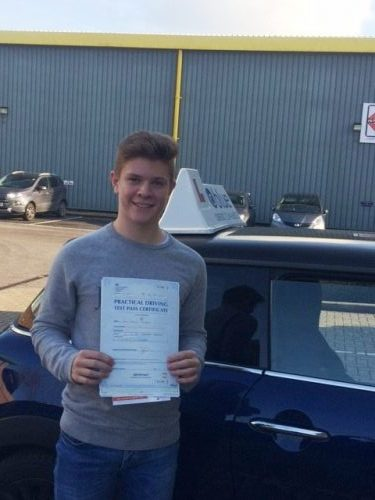 A great result for Liam Tomkins from Bracknell who passed his driving test