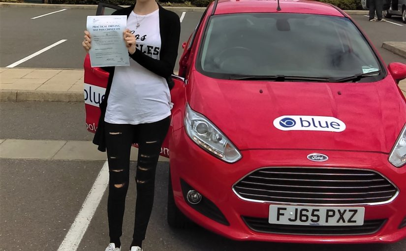 Kara Hughes from Lightwater, Surrey who passed her driving test FIRST attempt today at Farnborough