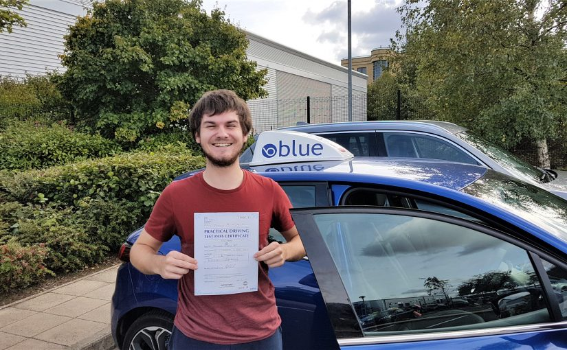 Alex Hills of Lightwater who passed his driving test FIRST TIME in Farnborough