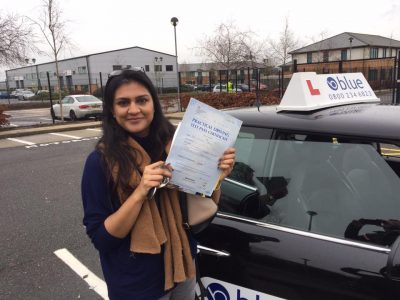 Farnborough driving test pass for Nikhita Patel