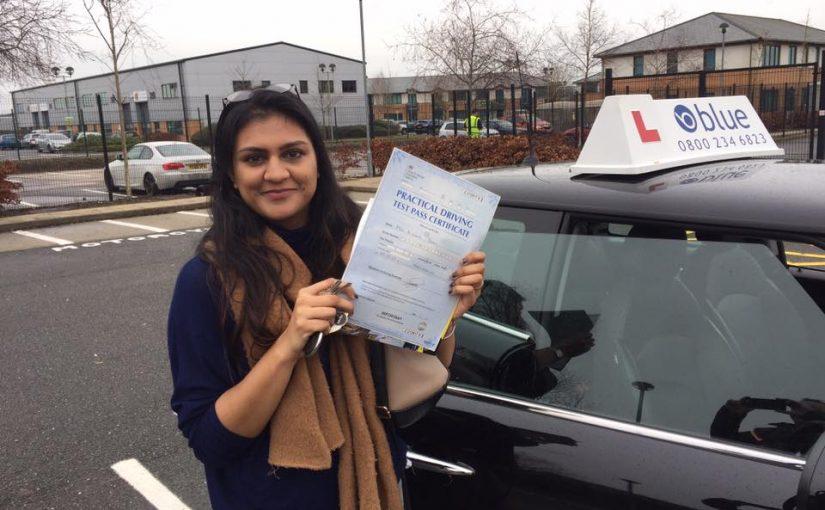Farnborough driving test pass for Nikhita Patel