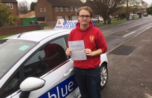 A big well done to Noah Reeves of Maidenhead who passed his test on his first attempt in Slough