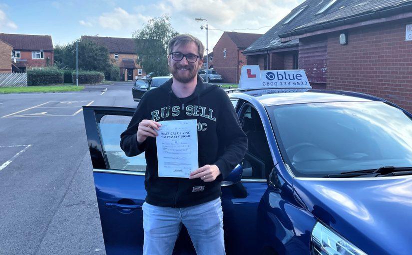 Oscar Brunslev pass his driving Test First Time in Trowbridge
