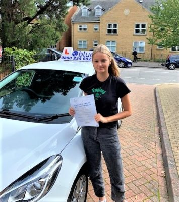 Sasha Weller of Windsor passed her driving test in Slough