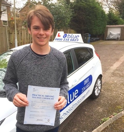 Great result for Freddie Coates of Windsor passed Driving Test First Go in Slough