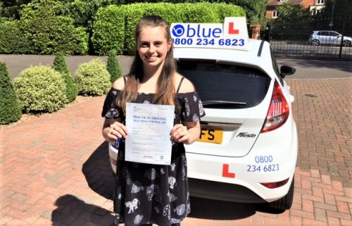 Keran passed her driving test in Slough on her first attempt