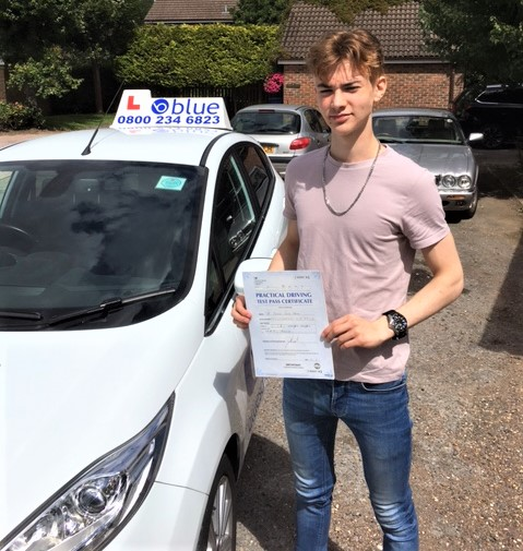 Leuan Thomas of Maidenhead who passed his driving test in Slough