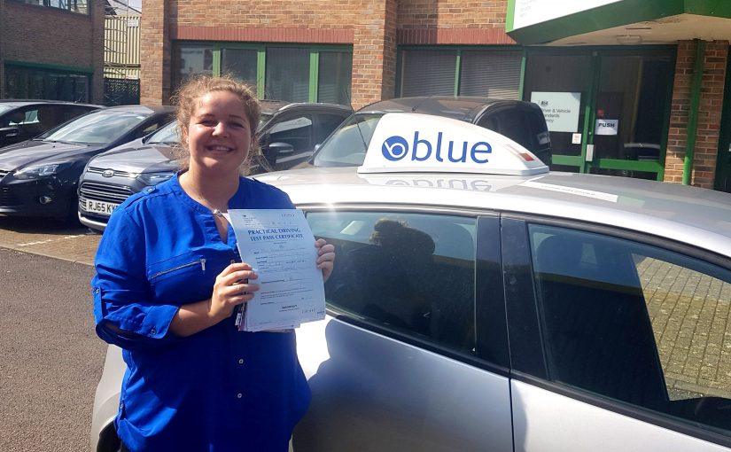 Katherine Cook of Sunningdale, Berkshire who passed her driving test First Time with only a few faults in Chertsey, Surrey