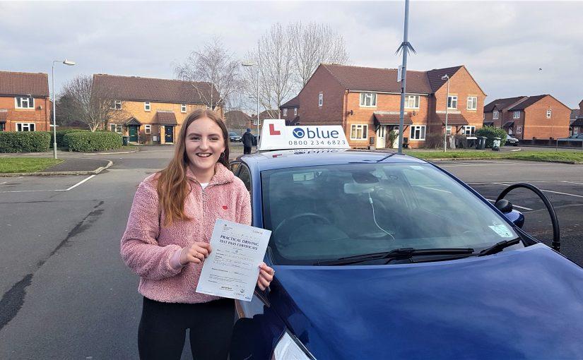 Klara Olsson of Trudoxhill, Somerset passed driving test in Trowbridge