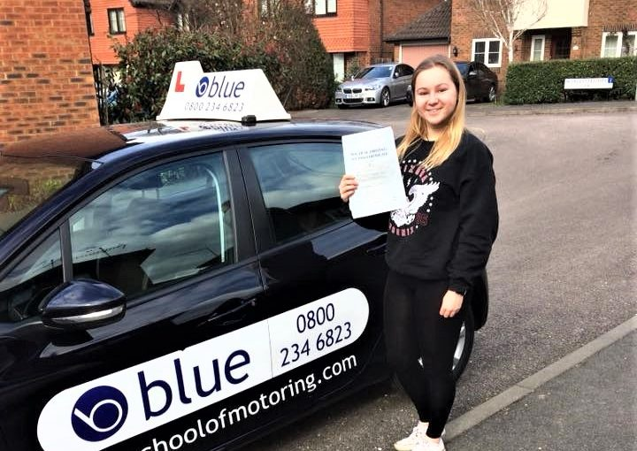 Sarah Overman from Warfield passed her driving test in Farnborough