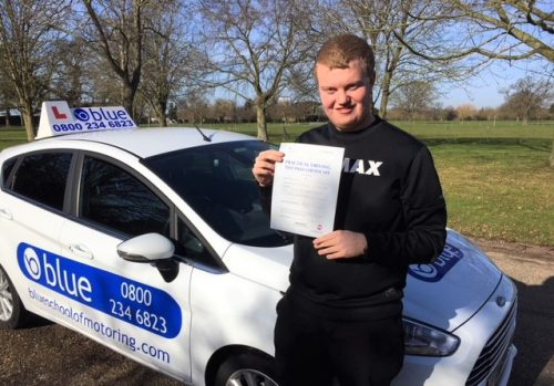 Thomas Weigh of Windsor, Berkshire passed his driving VERY FIRST TIME