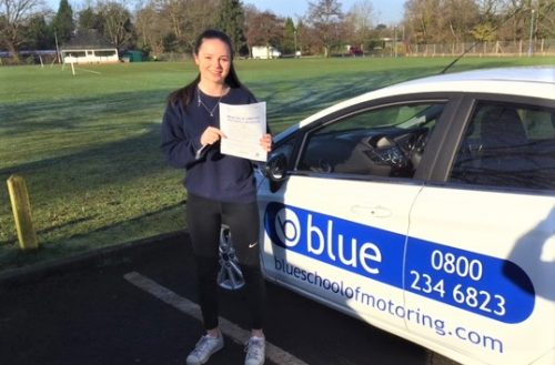 Amy Longster of Windsor, Berkshire passed her practical driving test