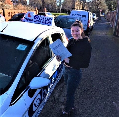 Meg Leopold of Windsor, Berkshire passed her driving test Very First attempt in Slough